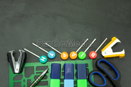 closeup of colorful school supplies with