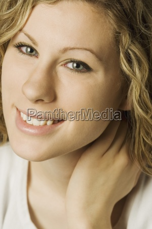 close up of young woman smiling