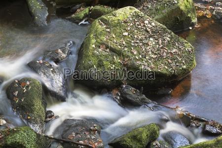 closeup of stream through rocks