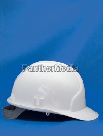 hard hat on blue background
