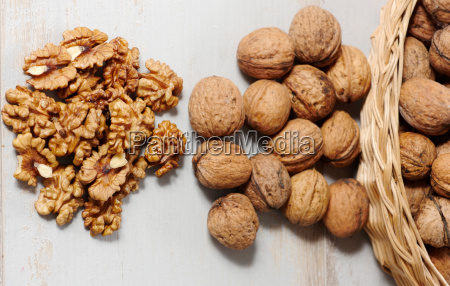 walnuts on a white wooden table
