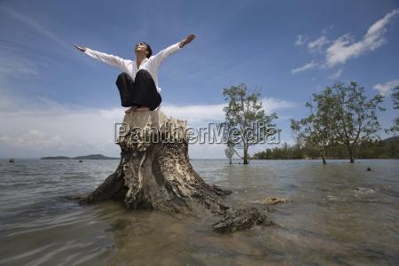 man worshipping koh lanta thailand asia