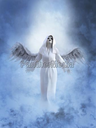 3d rendering eines weissen engels im