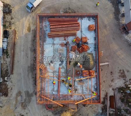 construction of a brick building installation