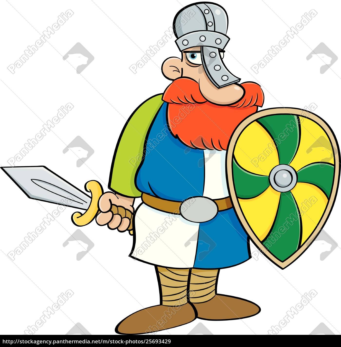 karikaturillustration, eines, mittelalterlichen, ritters, der, ein, schild - 25693429