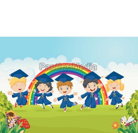 happy little kids celebrate their graduation