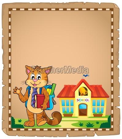 school cat theme parchment 1