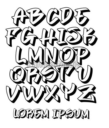 graffiti schrift 3d hand geschrieben vektoralphabet