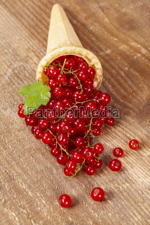 red currant fruits in ice cream