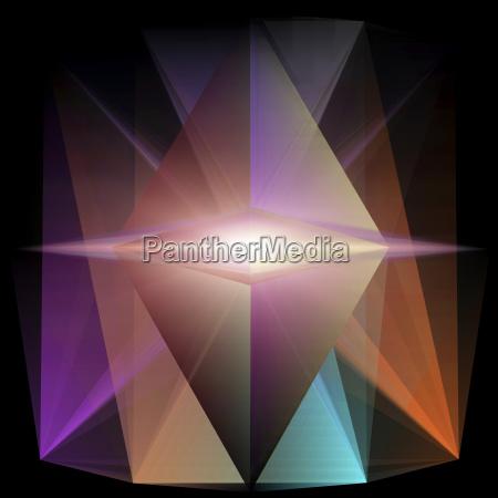 abstract glowing triangular geometric shape on