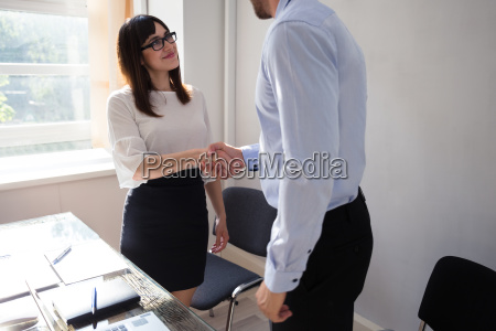businesswoman shaking hand with her partner