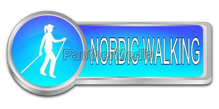 hochglanzblau nordic walking button 3d illustration
