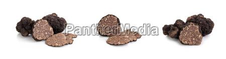 black truffles and oak leaves
