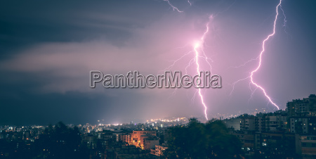 two lightning in the city at