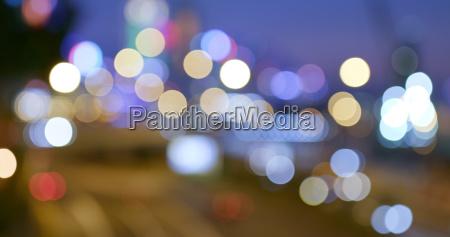 bokeh of city traffic at night
