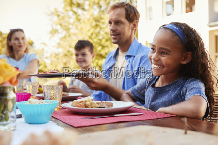 friends and family having lunch at
