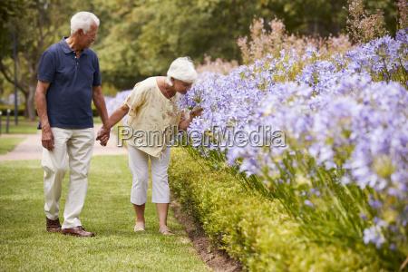 senior couple holding smelling flowers on