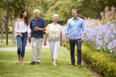senior parents with adult children on