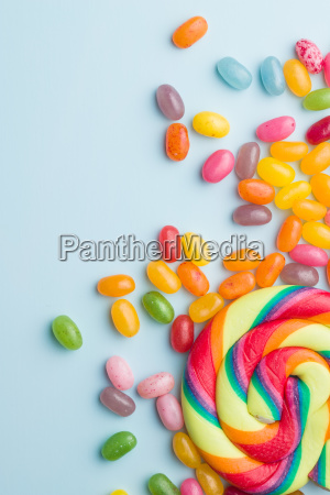 sweet jelly beans and lollipop