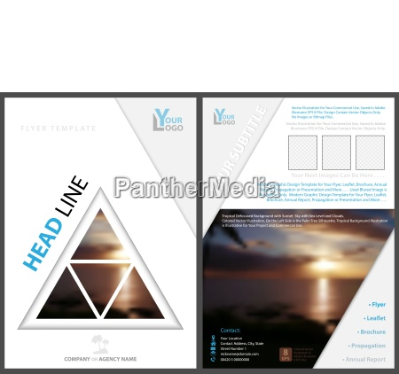 flyer template with triangle tropical background