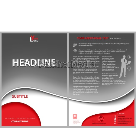 leaflet template with gray wavy background