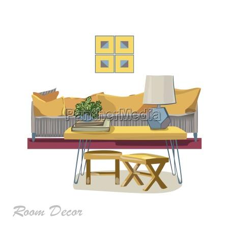 innenarchitektur illustration moderner gelber wohnzimmer stilstil