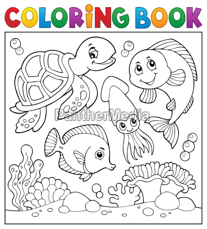 coloring book sea life theme 1
