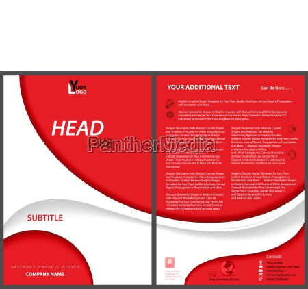 red flyer template with white abstract