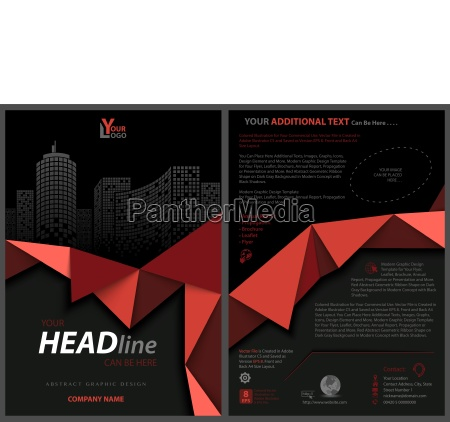 black flyer template with red geometric