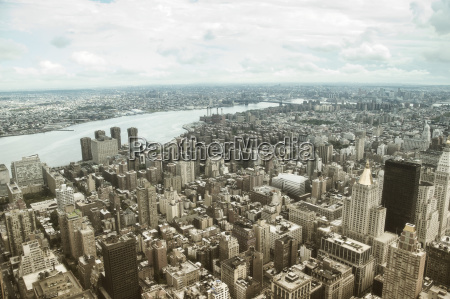aerial view of lower manhattan in