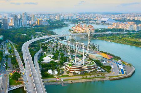 singapore skyline ferries wheel aerial