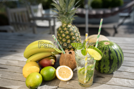 exotic fruits and summer cocktail