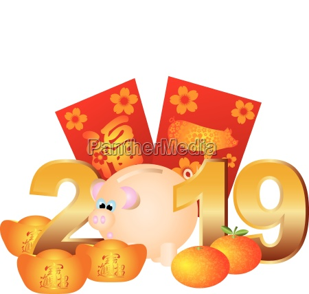 chinese new year pig 2019 illustration