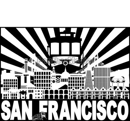 san francisco skyline trolley sun rays