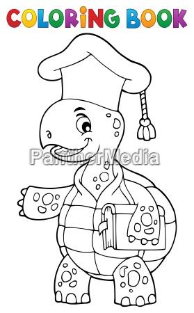 coloring book turtle teacher theme 1