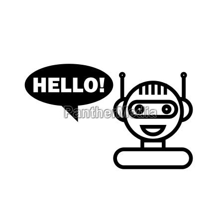 black line chat bot niedliche smiling