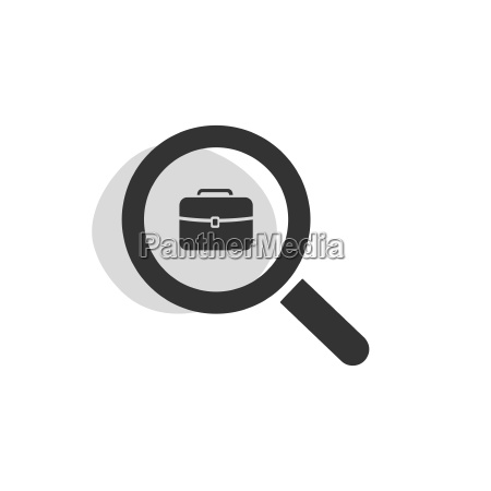 magnifying glass looking for employment isolated
