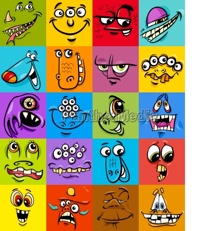 cartoon monster fantasy character set