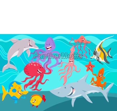 seewebtiere zeichentrickfiguren gruppe
