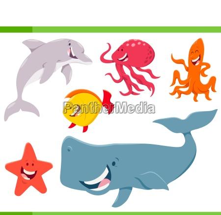 meeresleben tiere zeichentrickfiguren gesetzt