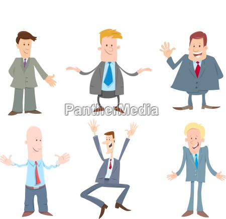 funny businessmen cartoon characters set