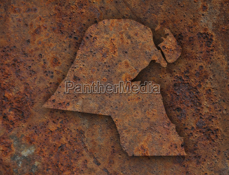 karte von kuwait auf rostigem metall