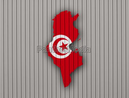 karte und fahne von tunesien auf