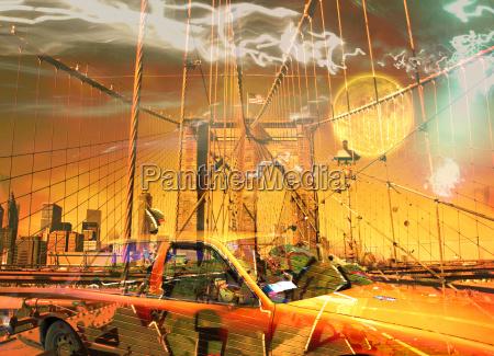 surreale digitale kunst gelbe kabine auf