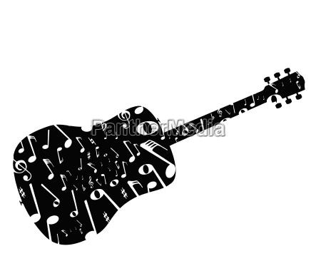 musikalische noten akustik gitarre