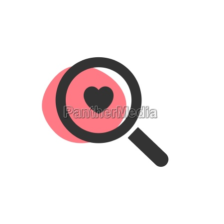 magnifying glass looking for love isolated