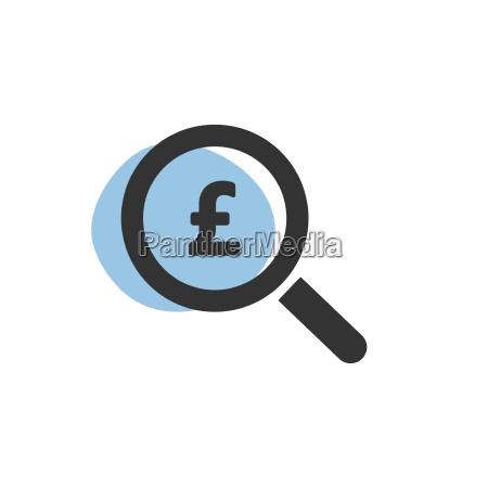 magnifying glass looking for pounds isolated