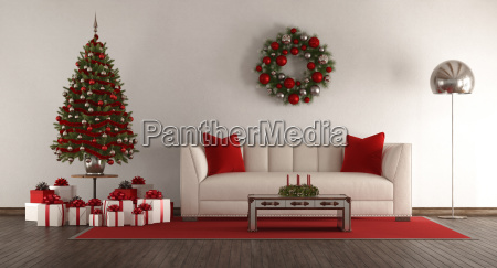 white living room with christmas tree