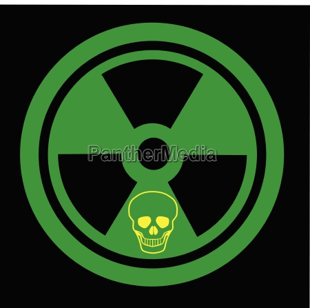 caution radioactive sign with skull