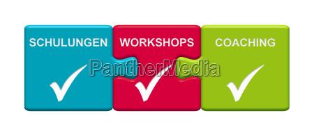 3 puzzle buttons mit training workshops